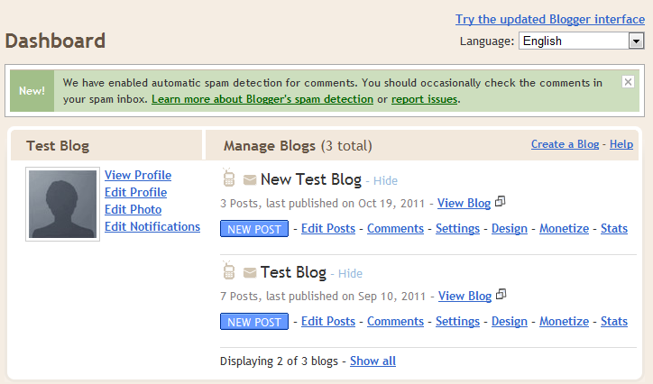 Create New Blog Classic Blogspot Dashboard