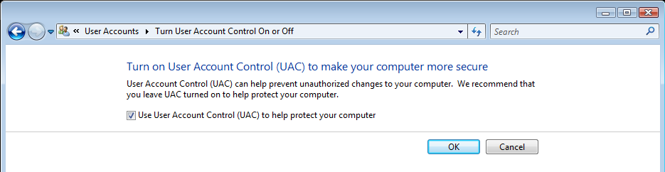 how to change user account control windows 7