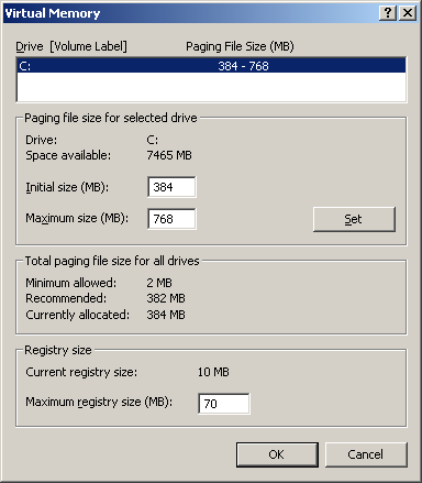 Tweak Windows 2000 Virtual Memory Settings