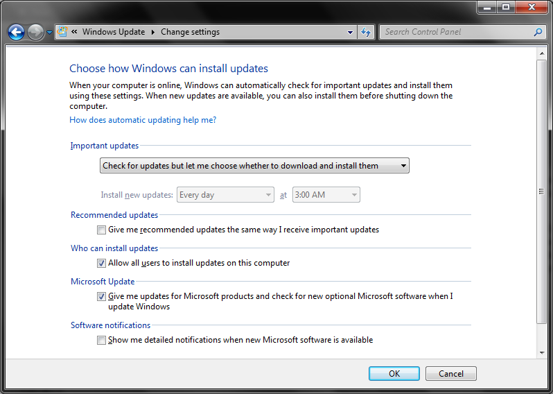 Update Windows 7 Vista Automatically