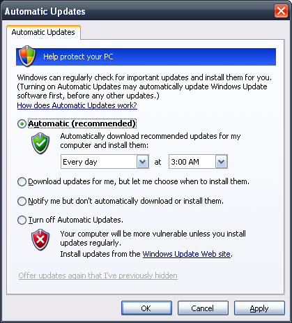 Update Windows XP Automatically