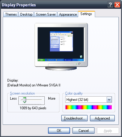 Windows XP Display Properties