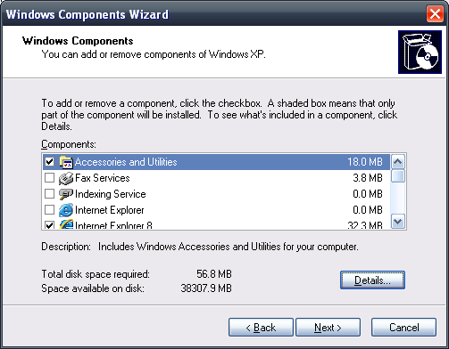 Remove Components Windows XP