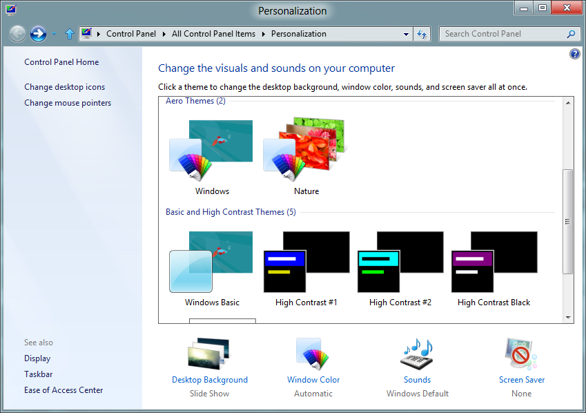 Windows 8 Desktop Theme Personalization