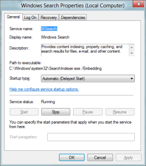 Windows 8 Disable File Indexing Search